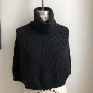 Banana Republic Wool Cape Pullover Sweater Black
